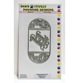 Paws-Itively Pawsome Designs Trifold Butterfly Mini Birthday Card