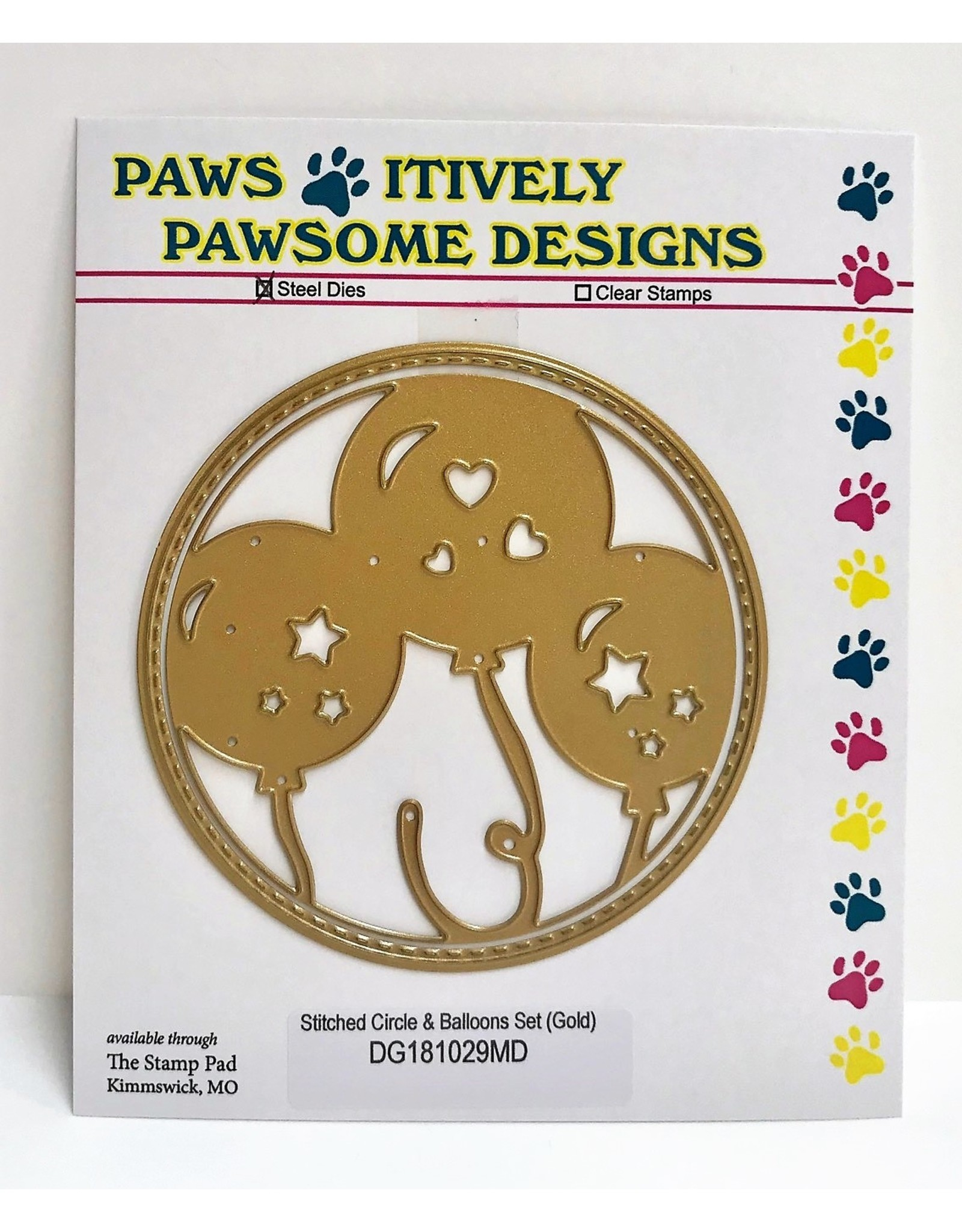 Paws-Itively Pawsome Designs Stitched Circle & Balloons Set (Gold) - Die