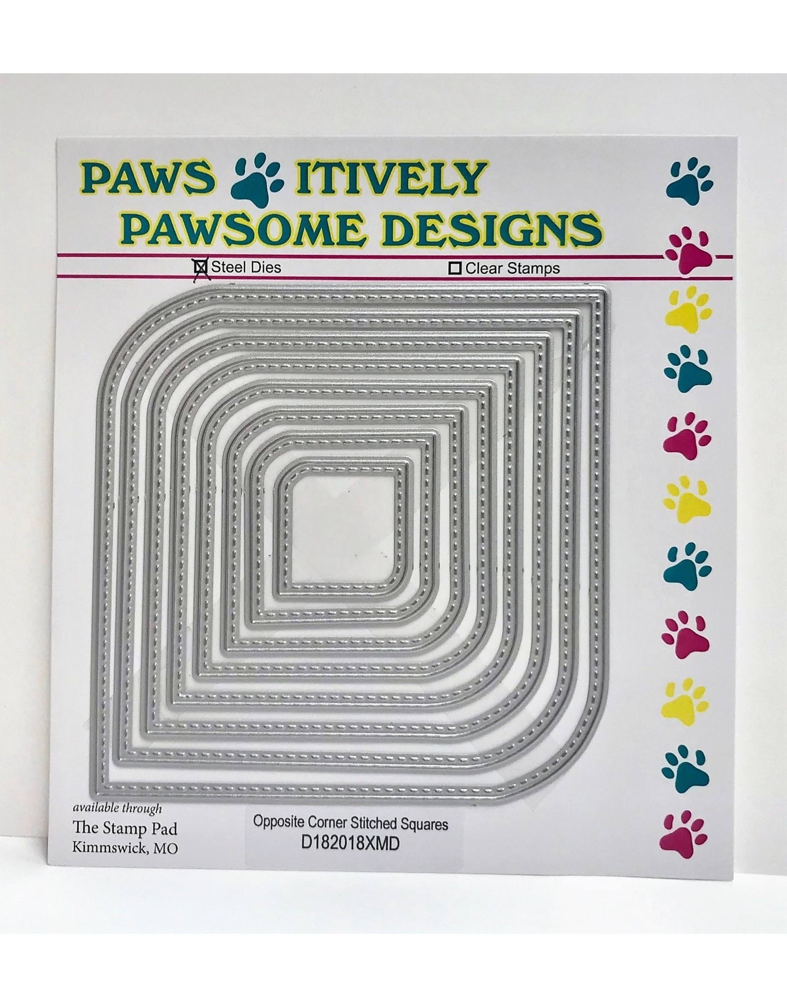Paws-Itively Pawsome Designs Opposite Corner Stitched Squares Set - Die