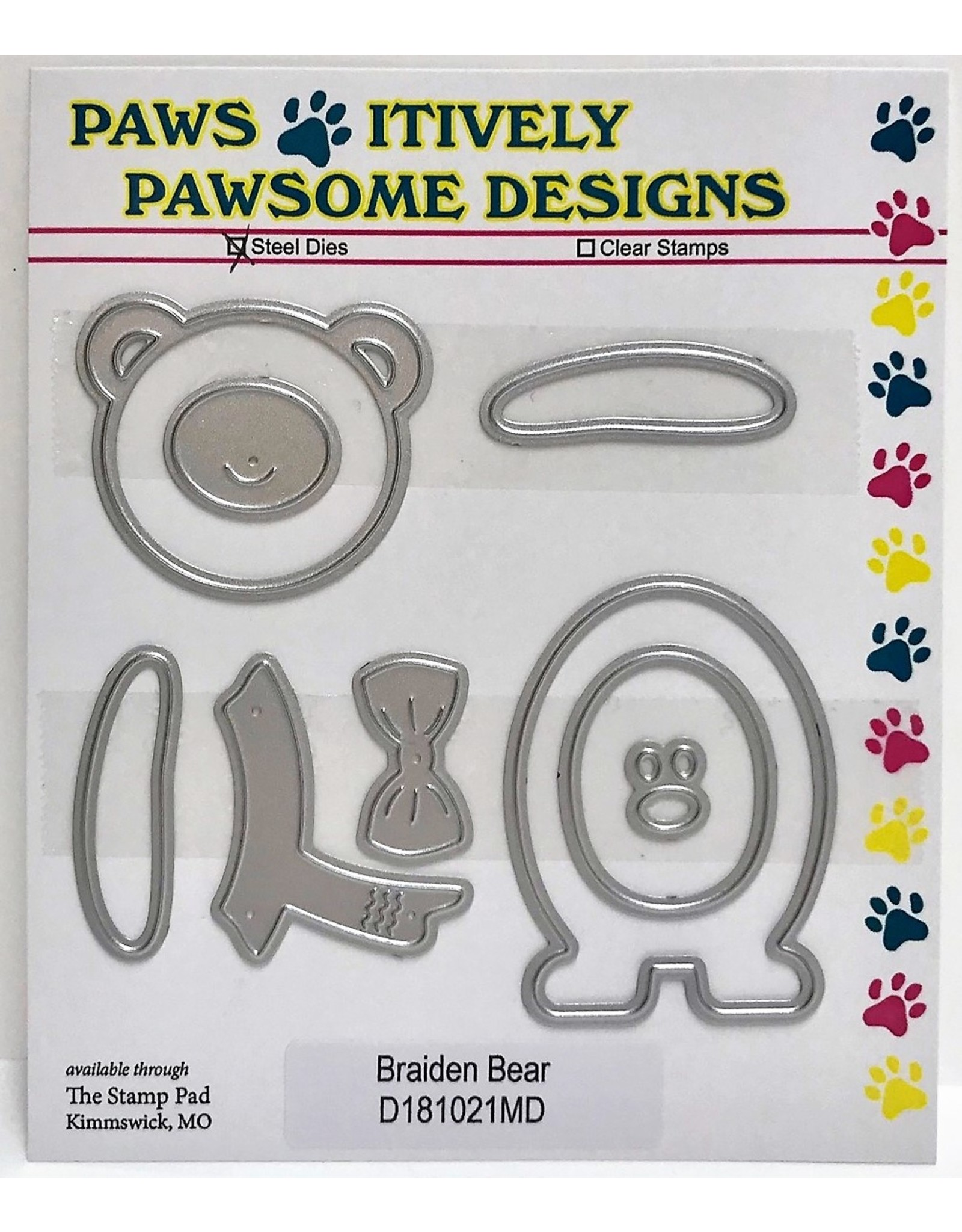 Paws-Itively Pawsome Designs Braiden Bear - Die