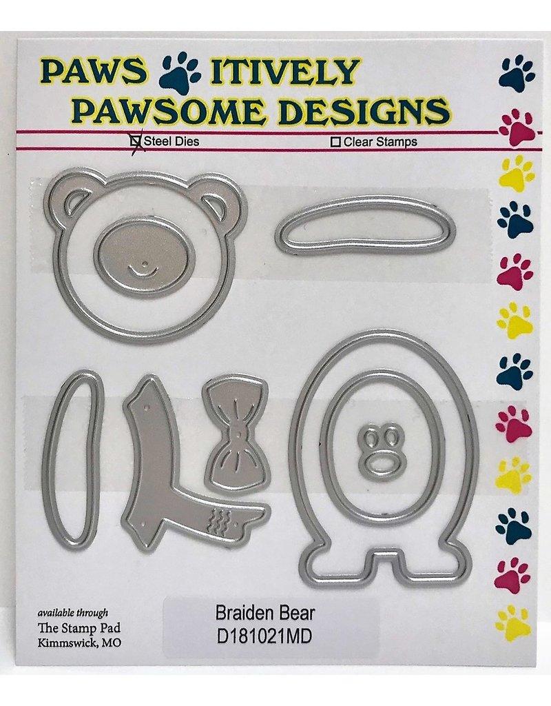 Paws-Itively Pawsome Designs Braiden Bear - Die