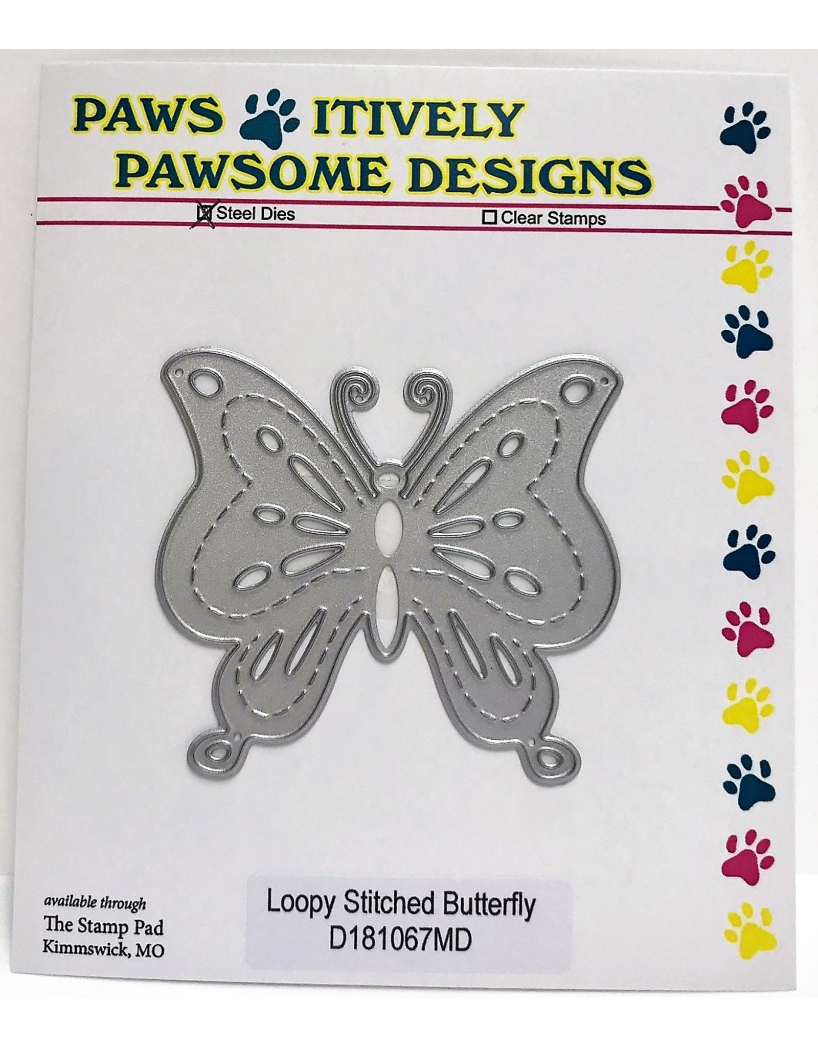 Paws-Itively Pawsome Designs Loopy Stitched Butterfly - Die