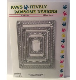 Paws-Itively Pawsome Designs Inner Scallop & Fancy Corner Stitched Rectangle Set - Die