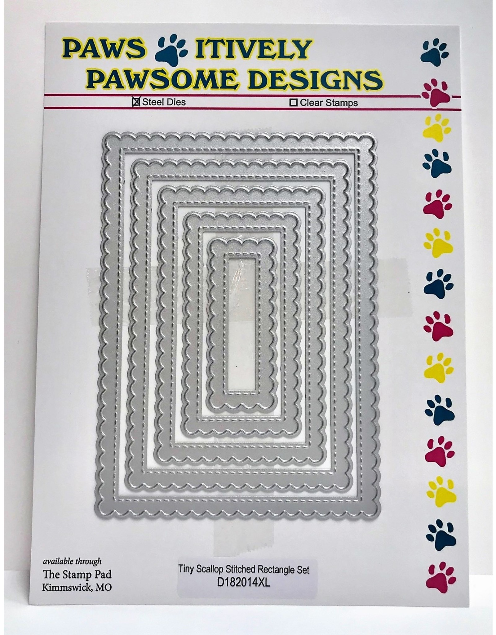 Paws-Itively Pawsome Designs Tiny Scallop Stitched Rectangle Set - Die