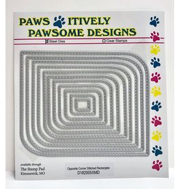 Paws-Itively Pawsome Designs Opposite Corner Stitched Rectangles - Die