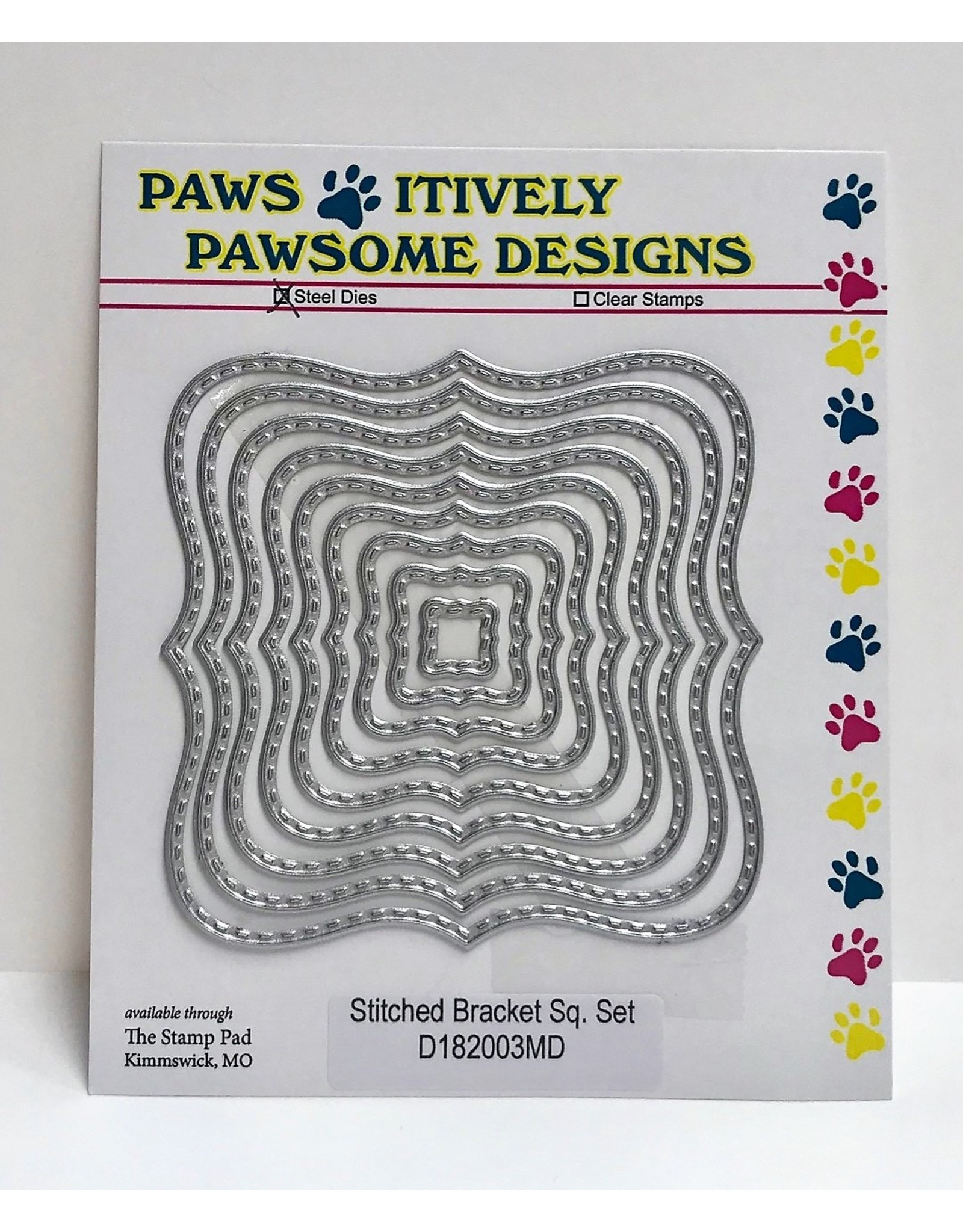 Paws-Itively Pawsome Designs Stitched Bracket Square Set - Die