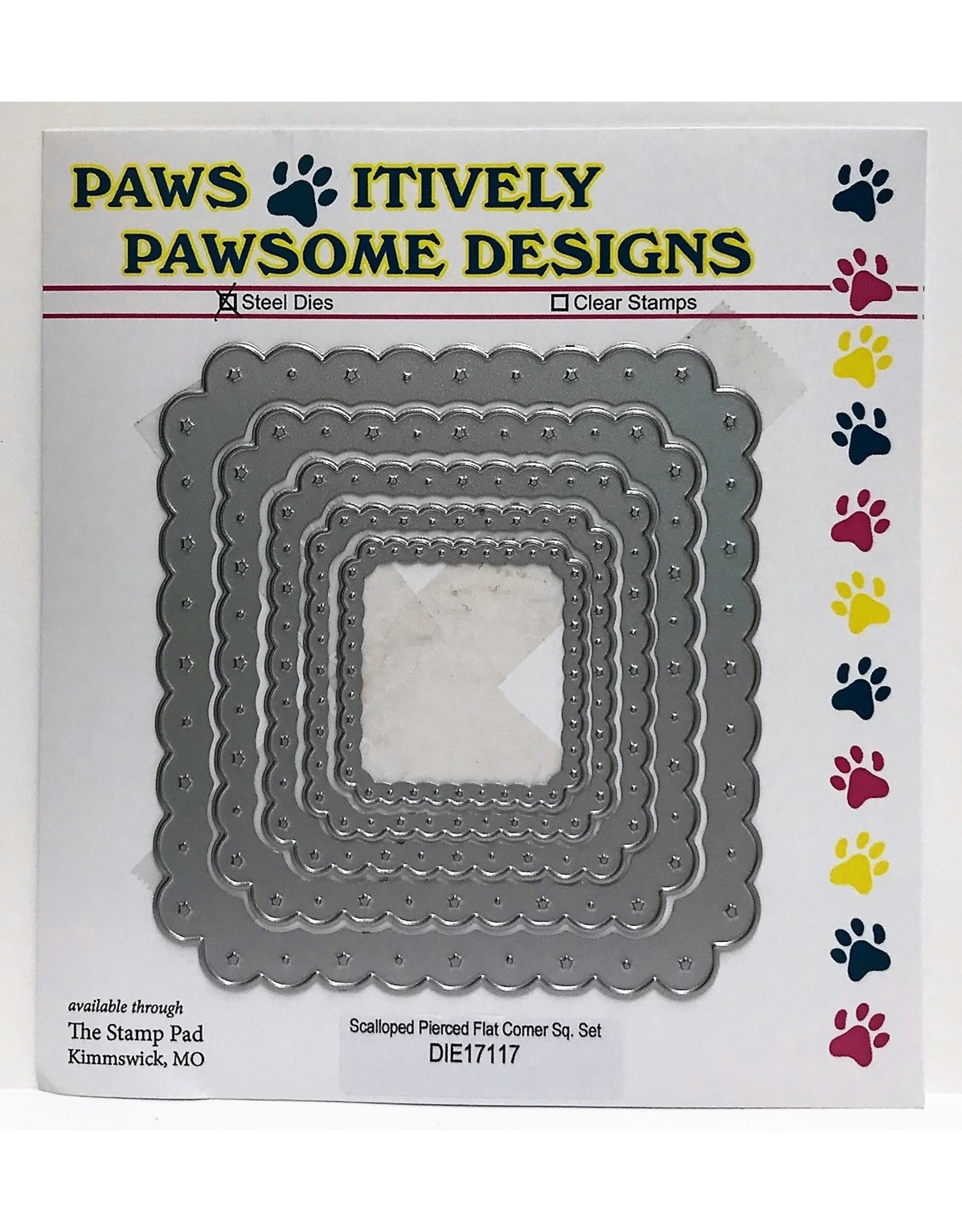 Paws-Itively Pawsome Designs Scalloped Pierced Flat Corner Square Set - Die
