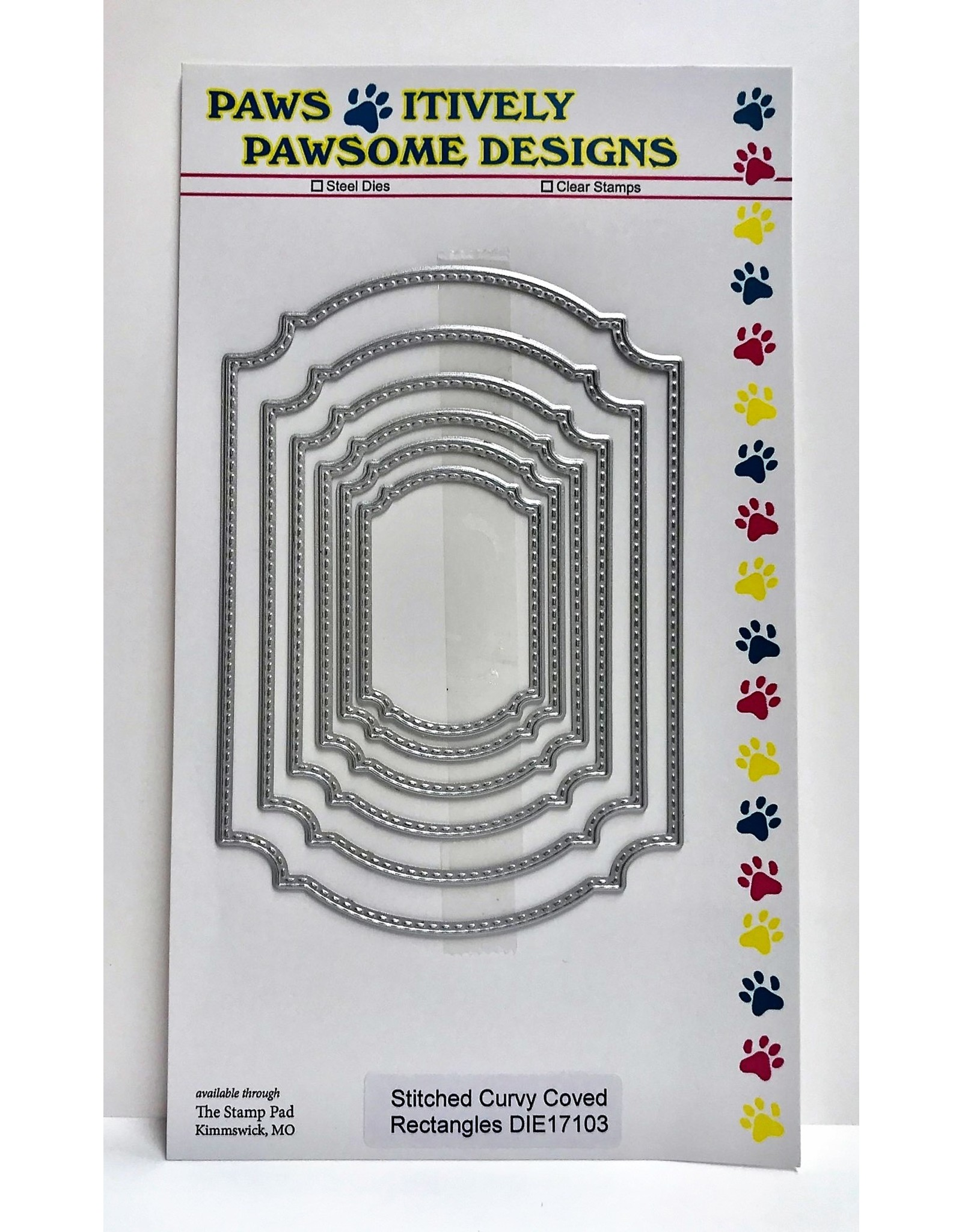 Paws-Itively Pawsome Designs Stitched Curvy Coved Rectangle Set - Die