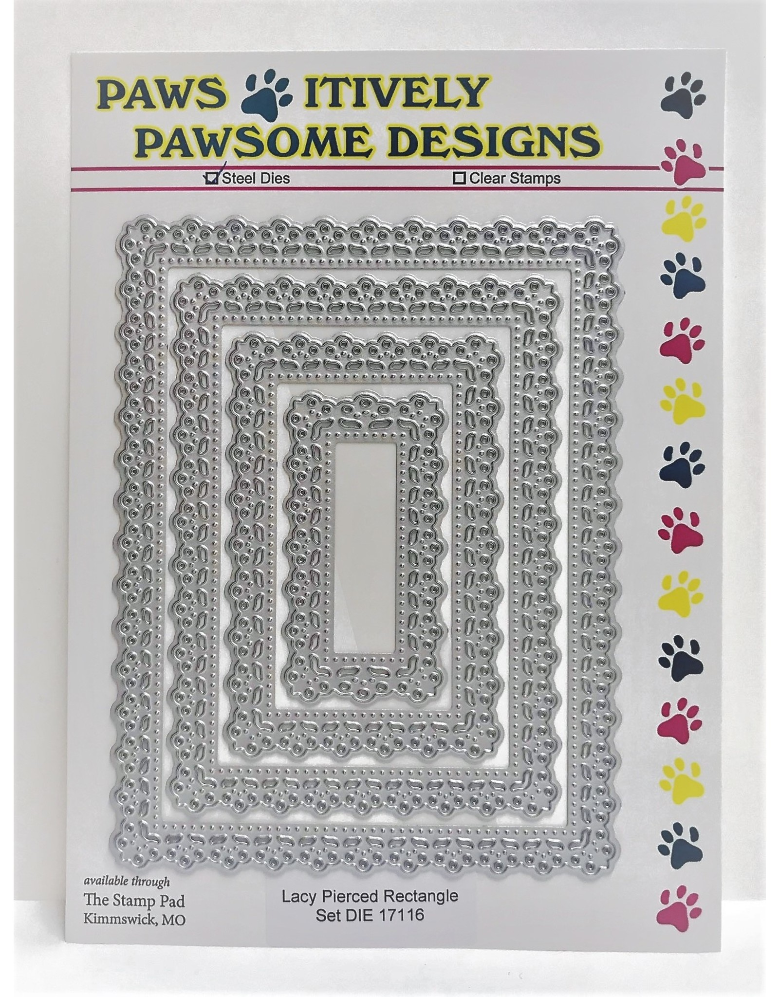 Paws-Itively Pawsome Designs Lacy Pierced Rectangle Set - Die