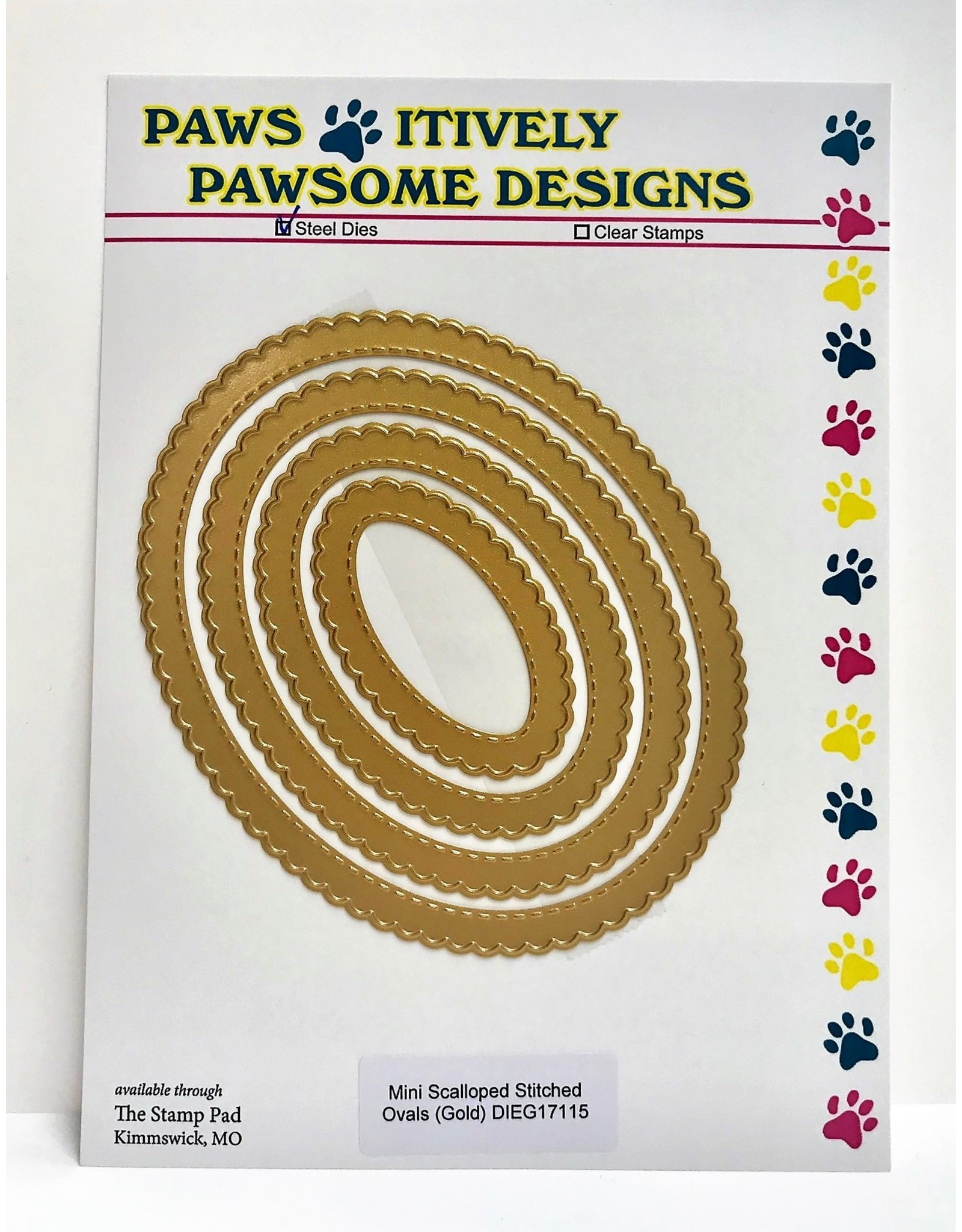 Paws-Itively Pawsome Designs Mini Scalloped Stitched Ovals (Gold) - Die