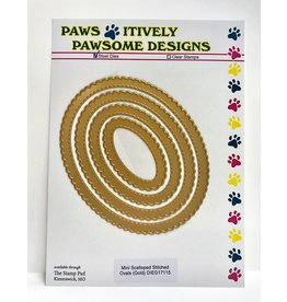 Paws-Itively Pawsome Designs Mini Scalloped Stitched Ovals (Gold)