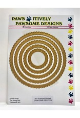 Paws-Itively Pawsome Designs Mini Scalloped Stitched Circles (Gold) - Die