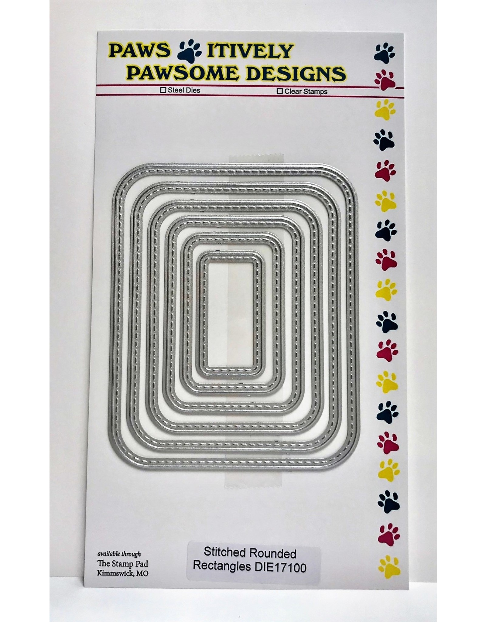 Paws-Itively Pawsome Designs Stitched Rounded Rectangles (PP) - Die