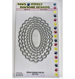 Paws-Itively Pawsome Designs Stitched Scalloped Ovals Set - Die
