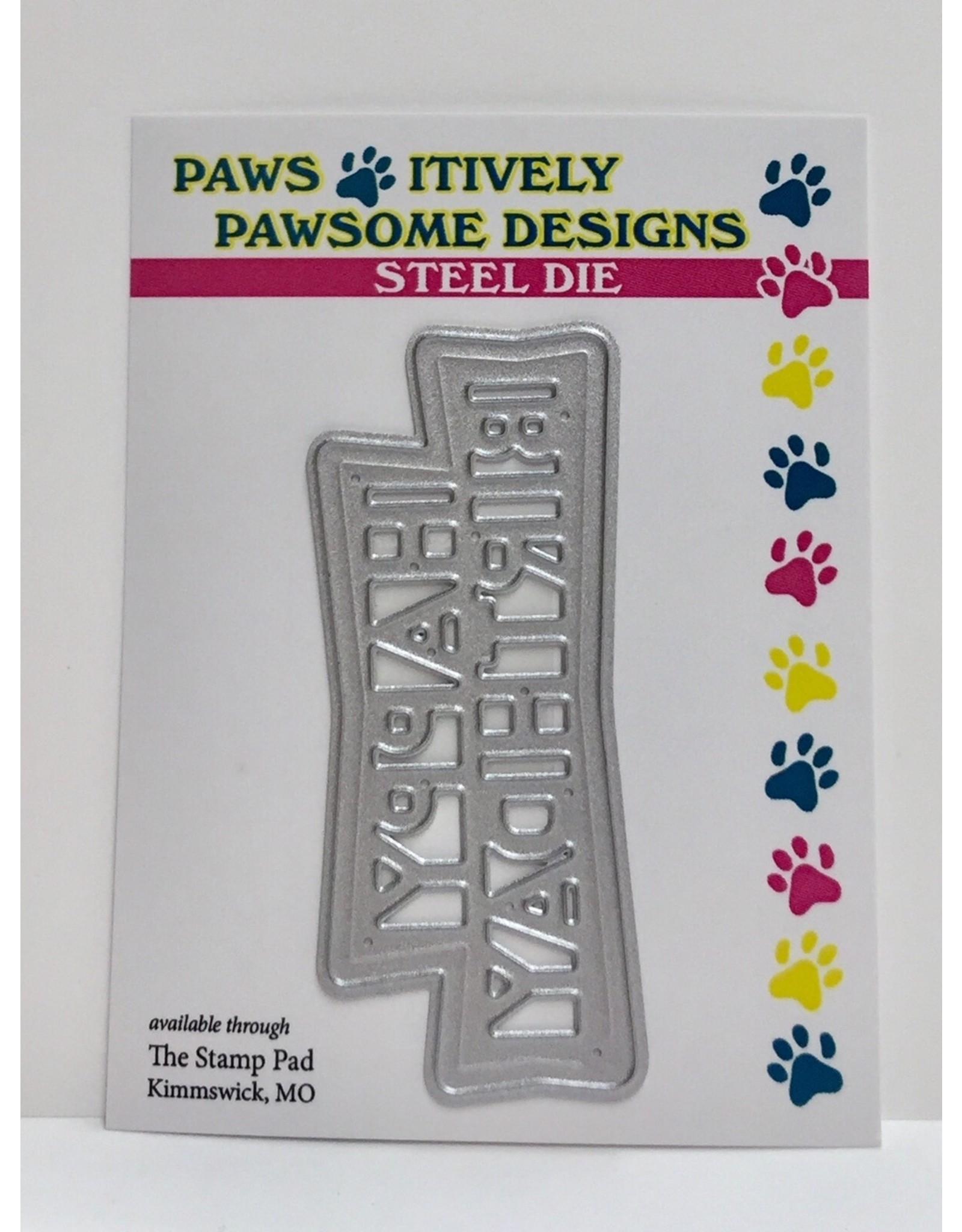 Paws-Itively Pawsome Designs Retro Happy Birthday - Die