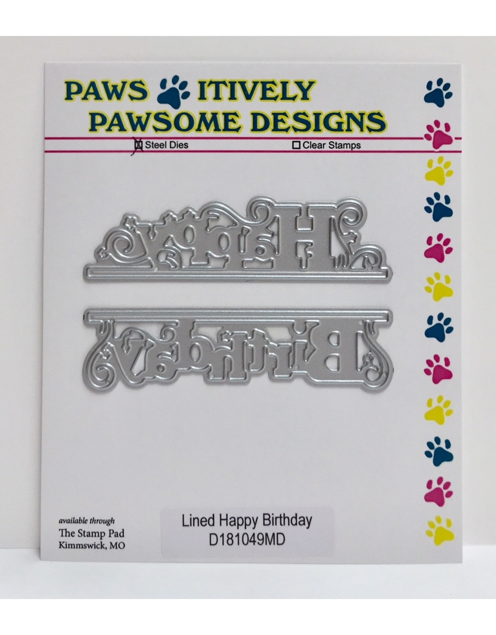 Paws-Itively Pawsome Designs Lined Happy Birthday - Die