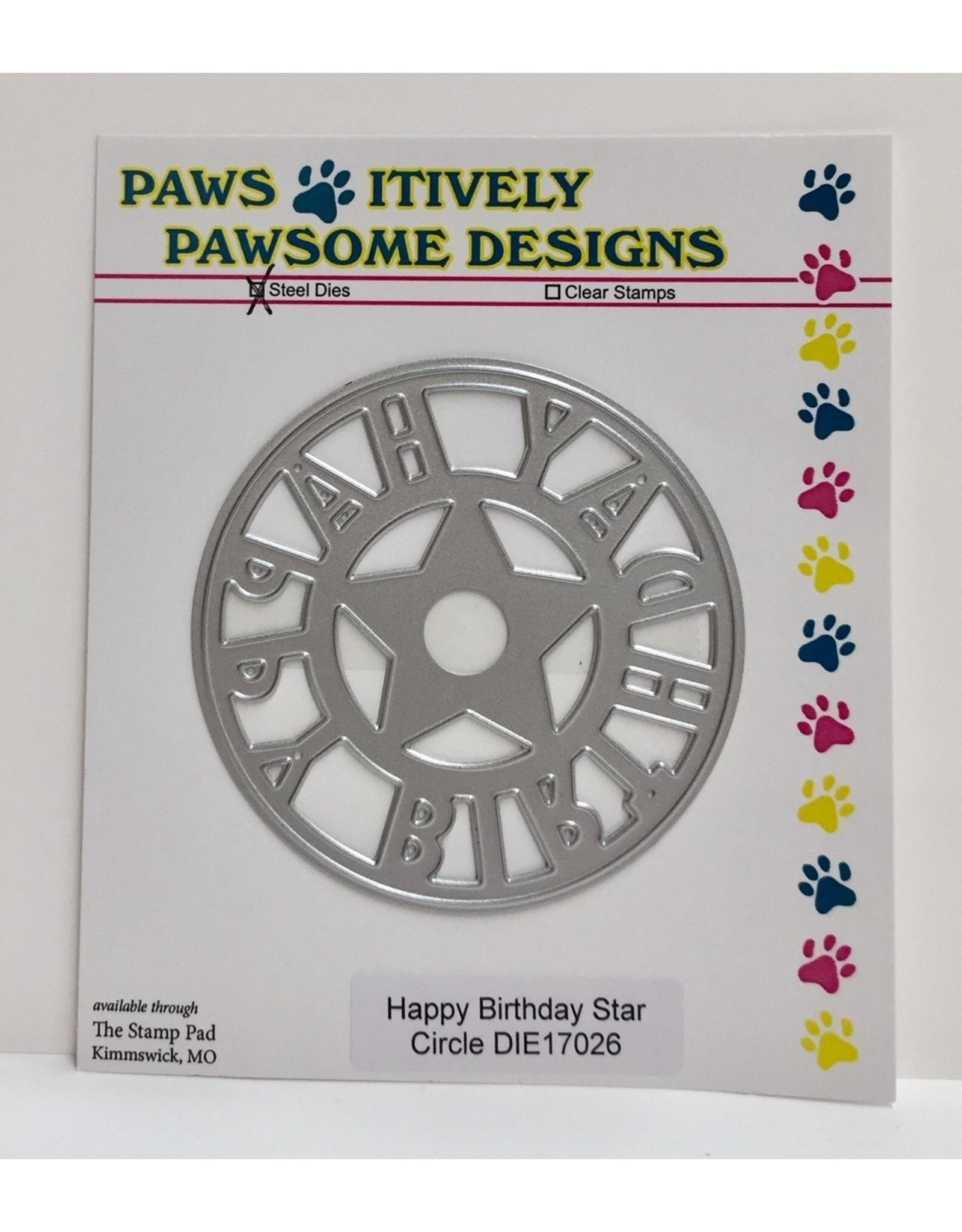 Paws-Itively Pawsome Designs Happy Birthday Star Circle - Die