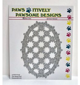 Paws-Itively Pawsome Designs Diamond Cut Scalloped Oval - Die