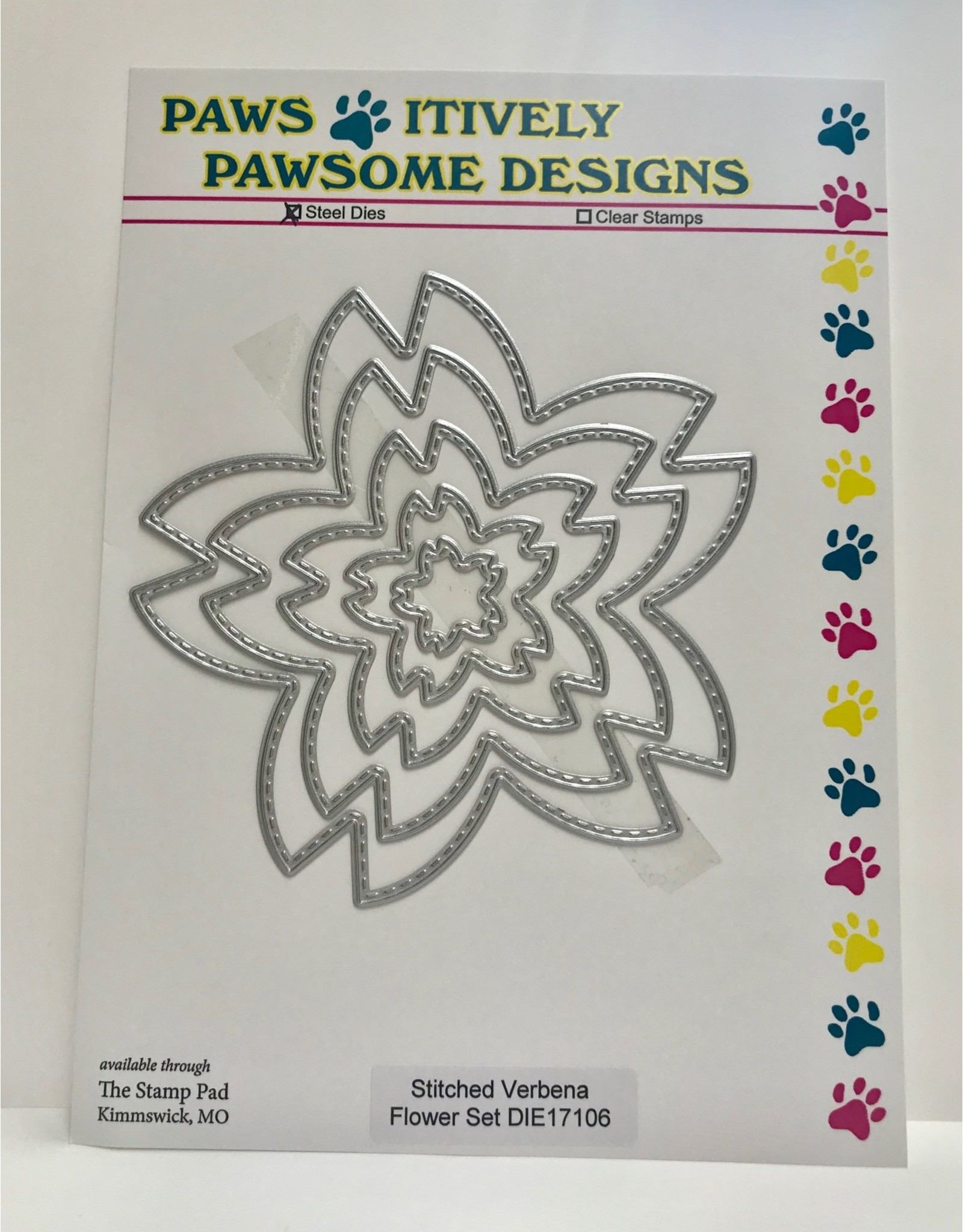 Paws-Itively Pawsome Designs Stitched Verbena Flower Set - Die