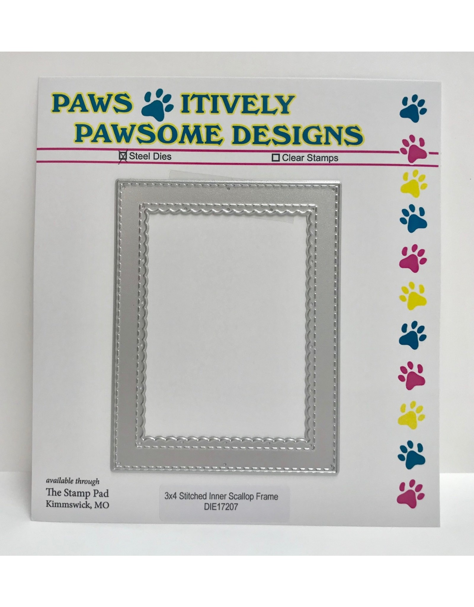 Paws-Itively Pawsome Designs 3x4 Stitched Inner Scallop Frame - Die