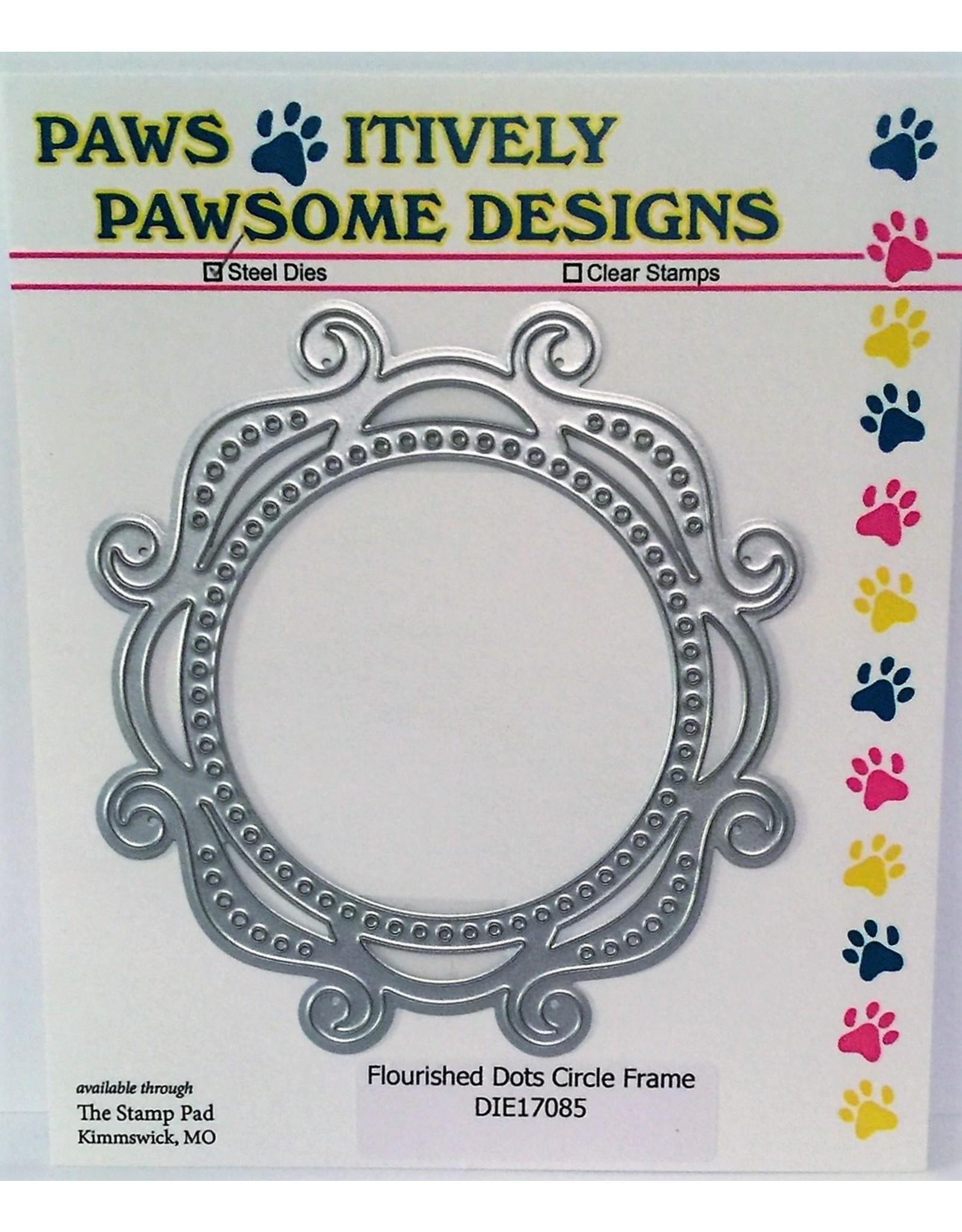 Paws-Itively Pawsome Designs Flourished Dots Circle Frame - Die
