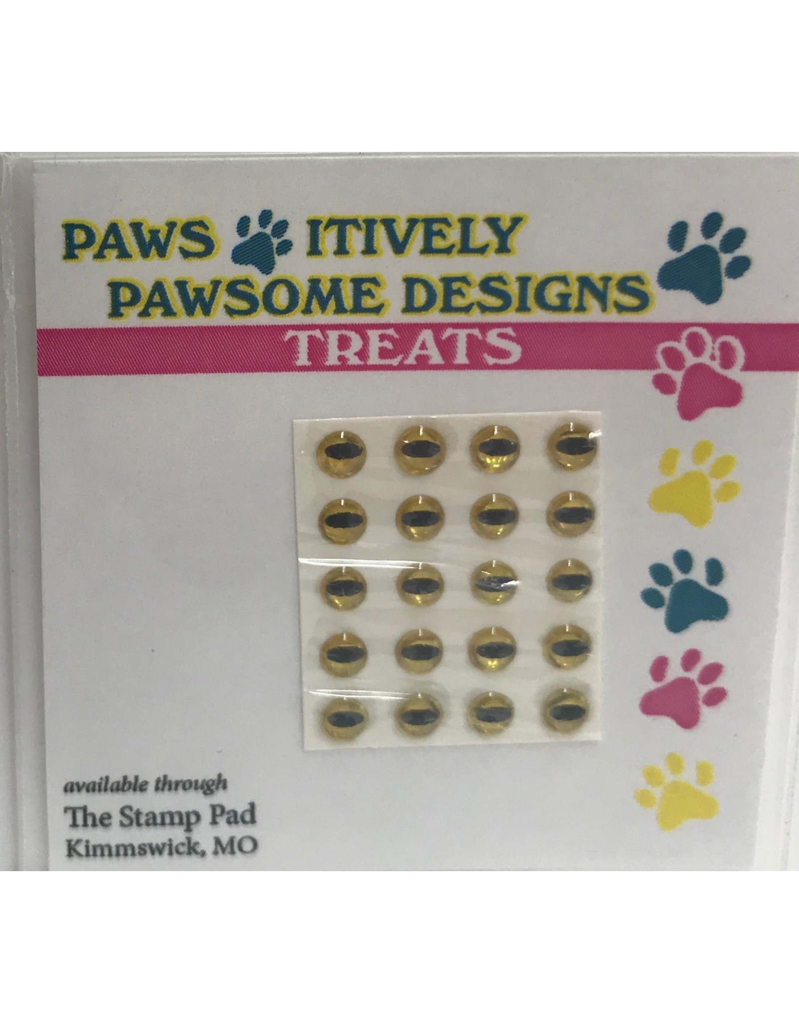Paws-Itively Pawsome Designs Tiny Eyes (Cat/Frog or Reptile) - Gold 3mm (Qty 20)