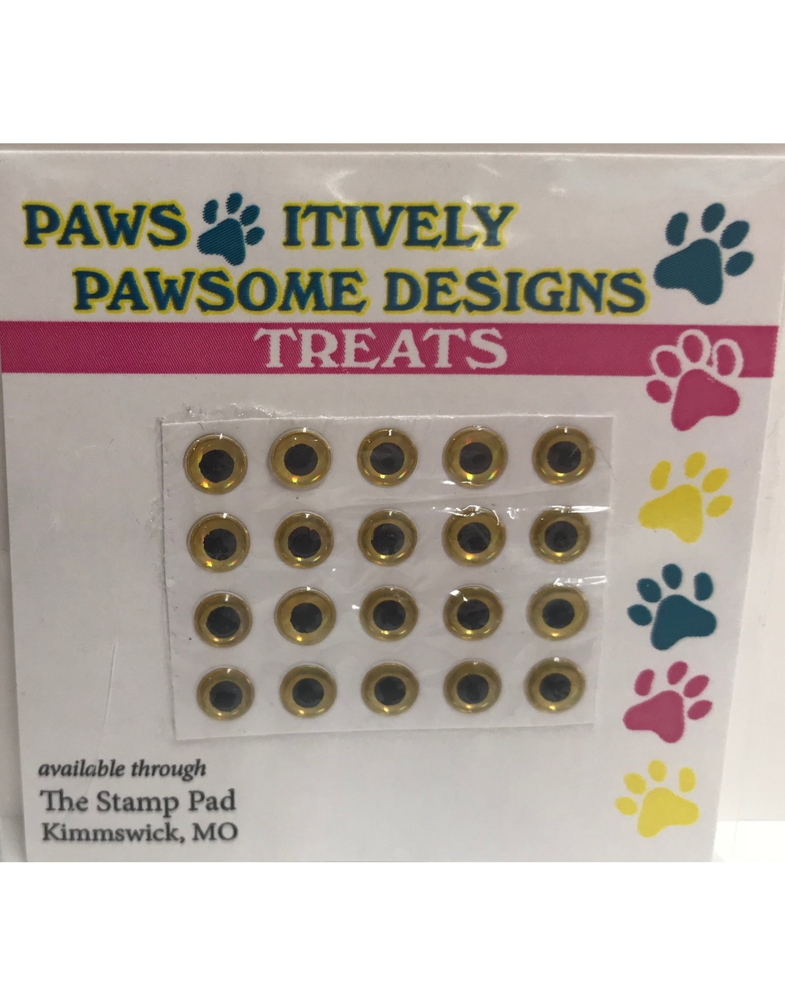 Paws-Itively Pawsome Designs Small Eyes - Gold 5mm (Qty 20)