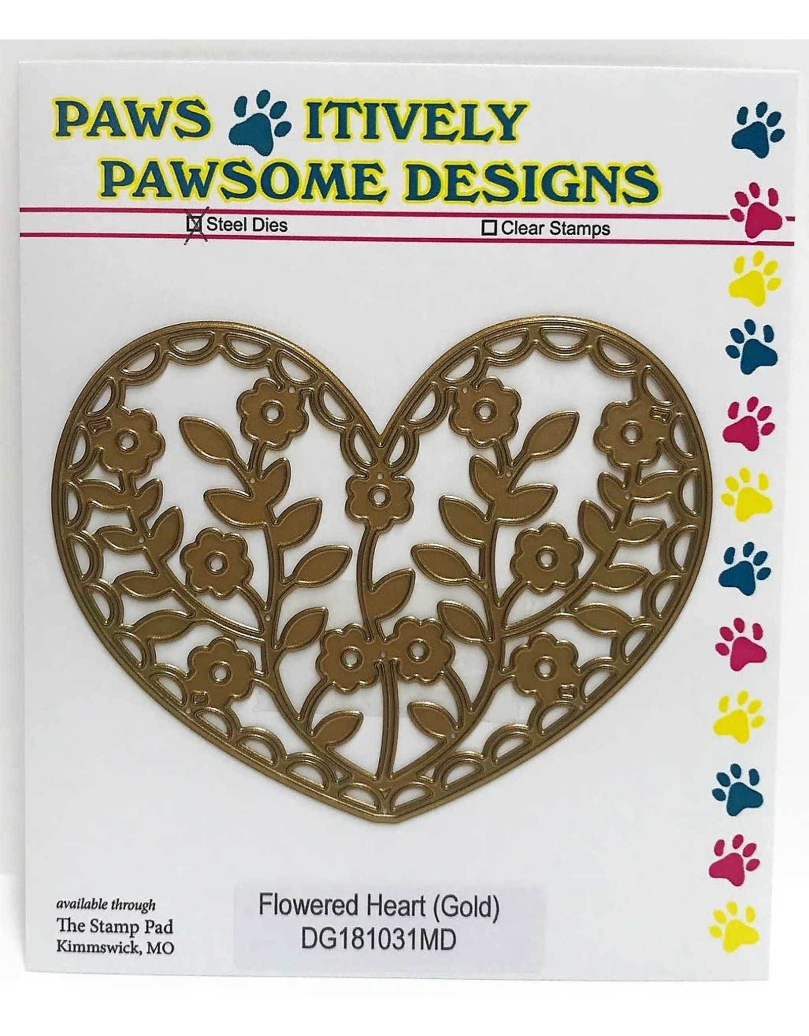 Paws-Itively Pawsome Designs Flowered Heart (Gold) - Die