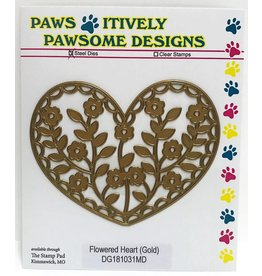Paws-Itively Pawsome Designs Flowered Heart (Gold)