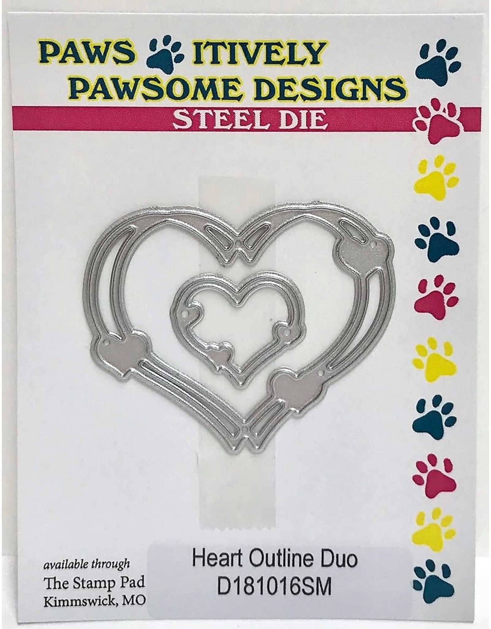 Paws-Itively Pawsome Designs Heart Outline Duo - Die