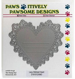 Paws-Itively Pawsome Designs Lacy Stitched Heart w/Lines