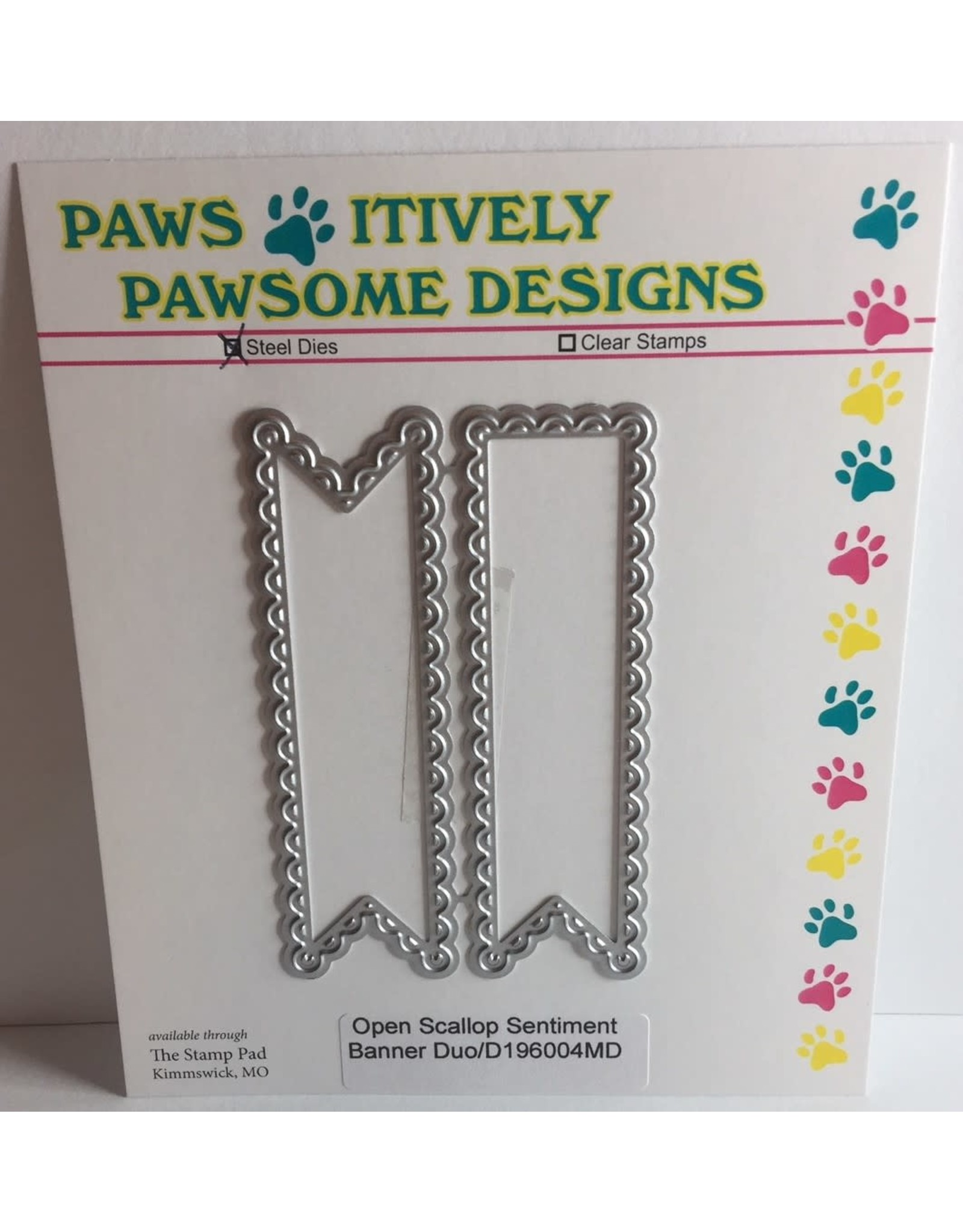 Paws-Itively Pawsome Designs Open Scallop Sentiment Banner Duo - Die