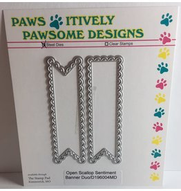 Paws-Itively Pawsome Designs Open Scallop Sentiment Banner Duo