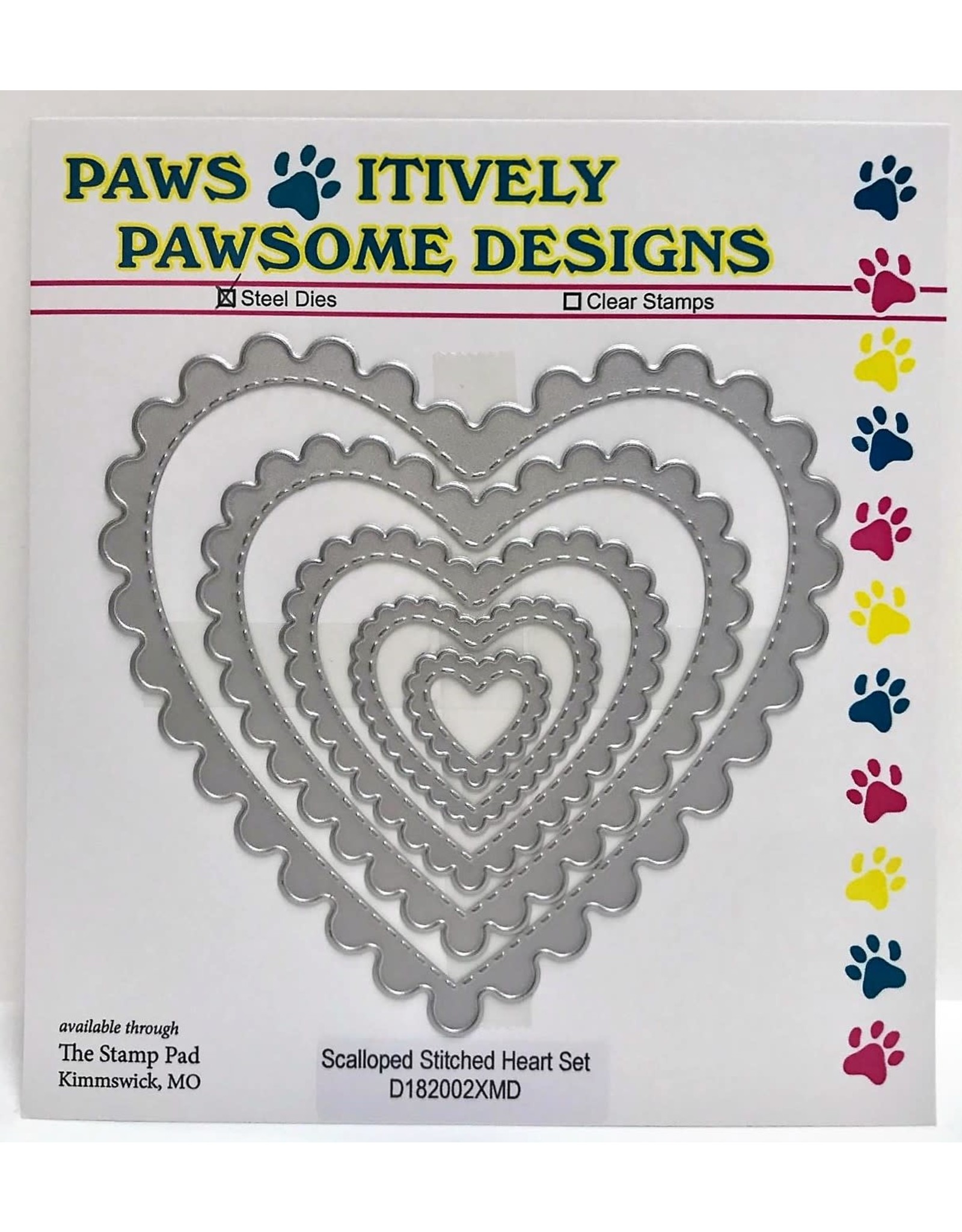 Paws-Itively Pawsome Designs Scalloped Stitched Heart Set - Die