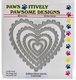 Paws-Itively Pawsome Designs Scalloped Stitched Heart Set