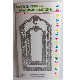 Paws-Itively Pawsome Designs Scalloped Wavy Stitched Tag Duo