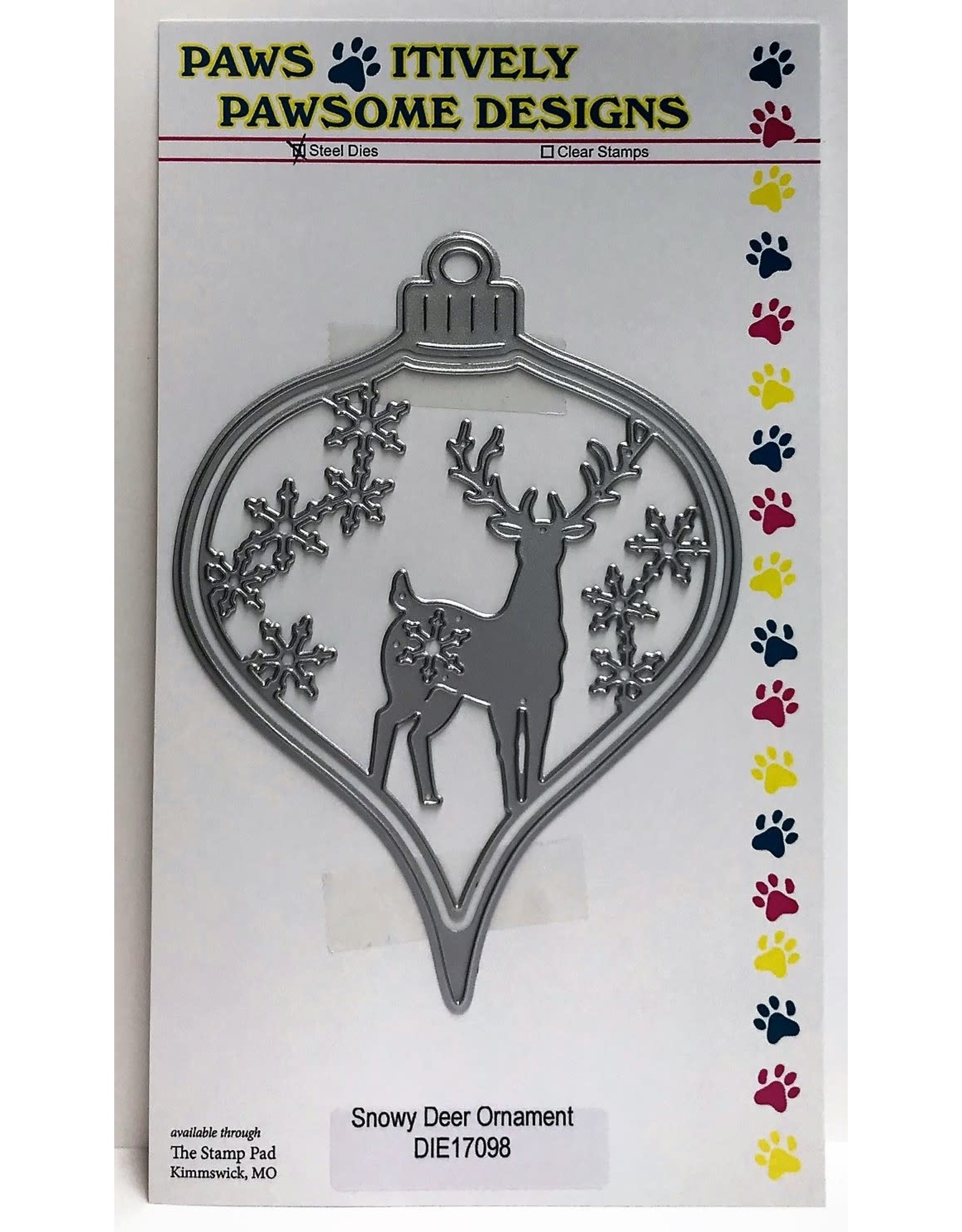 Paws-Itively Pawsome Designs Snowy Deer Ornament - Die