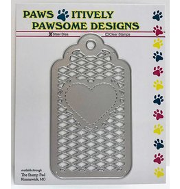 Paws-Itively Pawsome Designs Stitched Heart Lattice Tag - Die