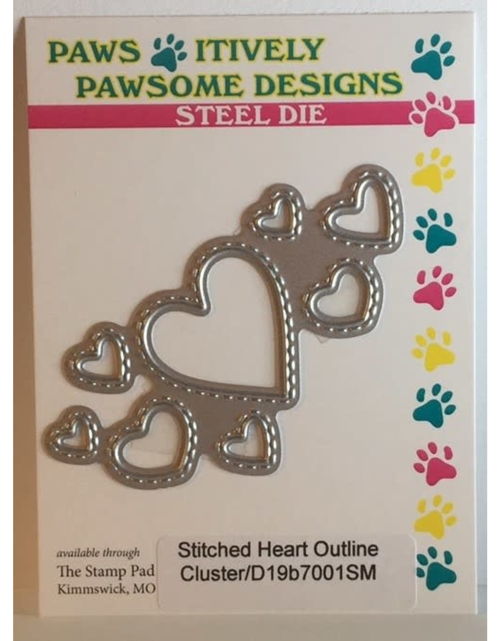 Paws-Itively Pawsome Designs Stitched Heart Outline Cluster - Die