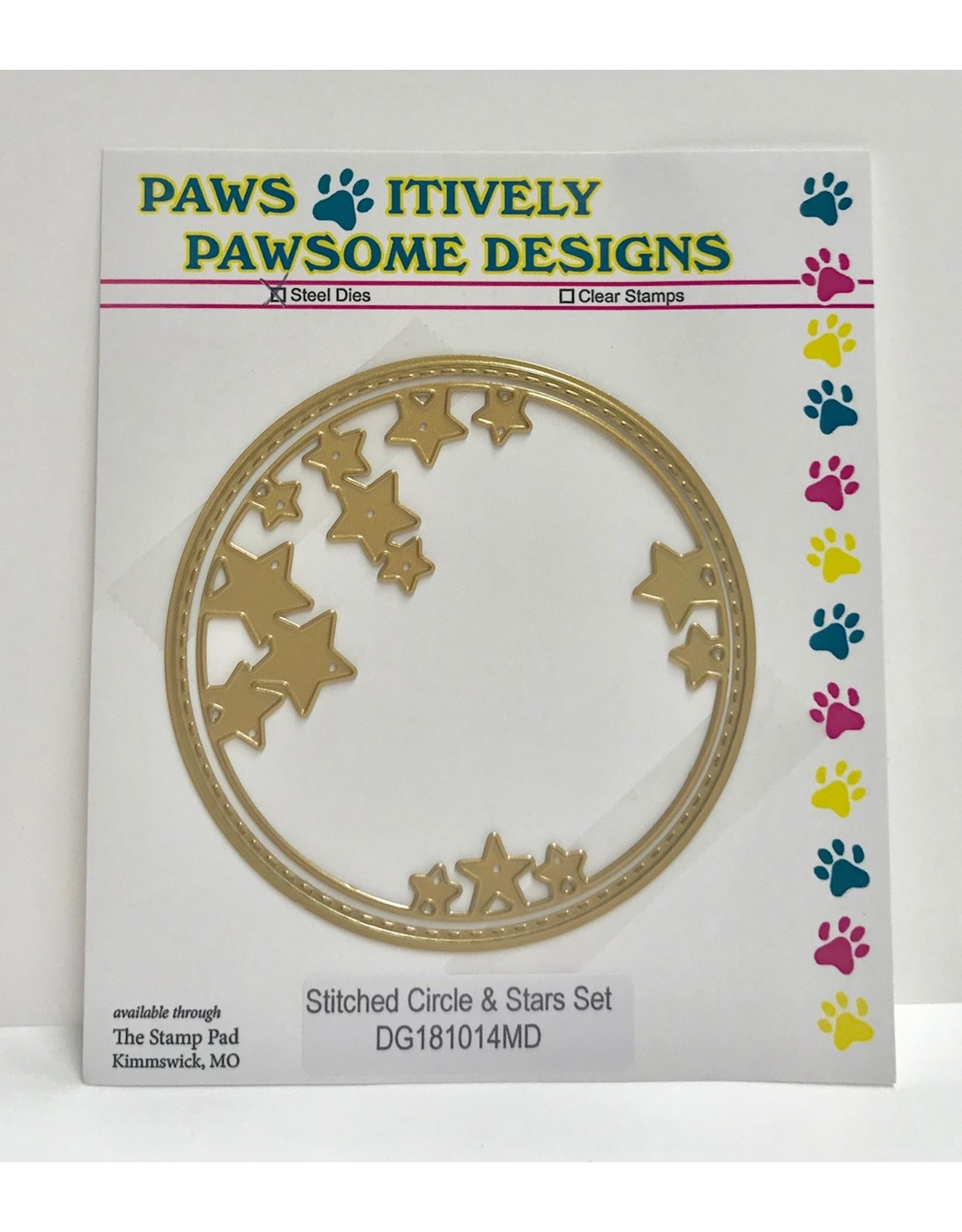 Paws-Itively Pawsome Designs Stitched Circle & Stars Set (Gold) - Die