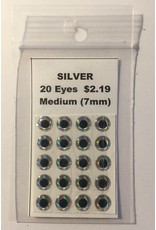Paws-Itively Pawsome Designs Medium Eyes - Silver 7mm (Qty 20)