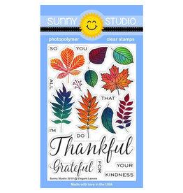 Sunny Studio Elegant Leaves Clear Stamp Set