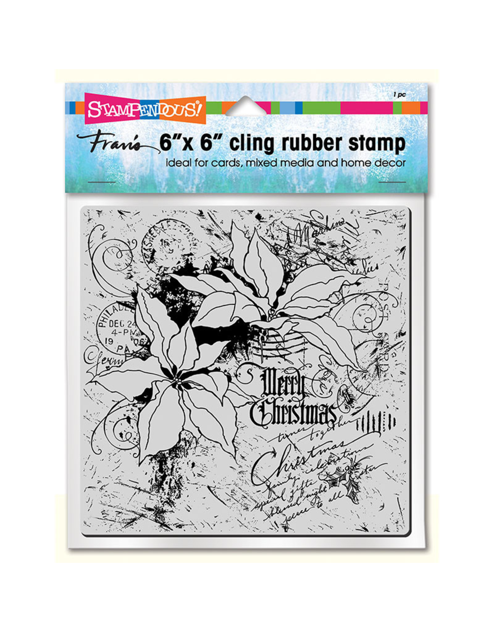 Stampendous Poinsettia Collage - Cling Stamp