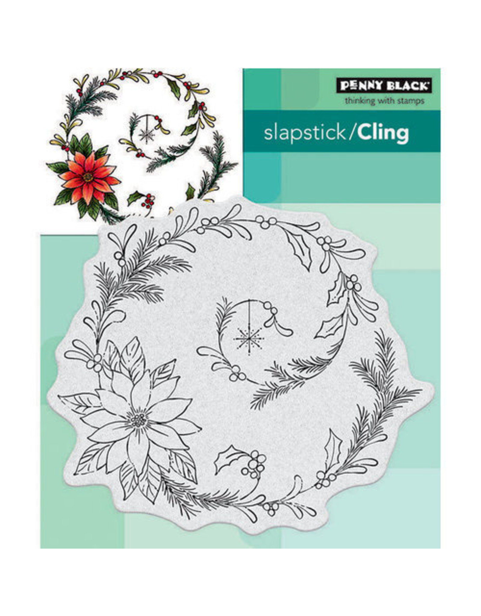 Penny Black Poinsettia Spiral - Cling Stamp