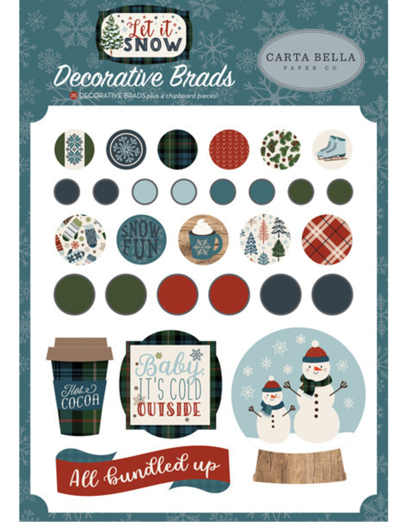 Echo Park Let it Snow - Decorative Brads (40%)