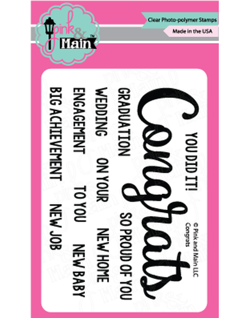 Pink and Main Congrats - Clear Stamp Set - Pink and Main