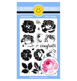 Sunny Studio Everything's Rosy Clear Stamp Set