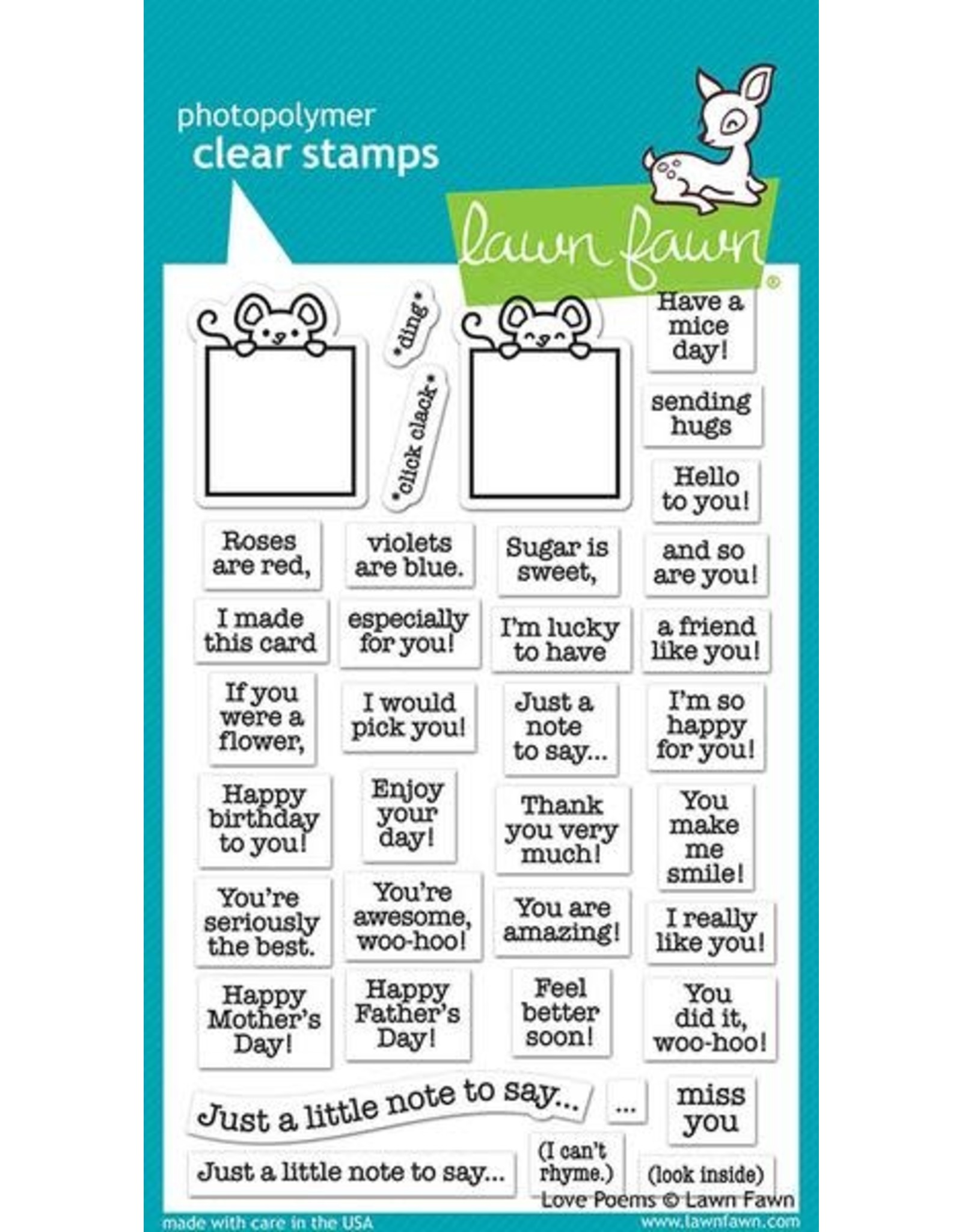 Lawn Fawn Love Poems - Clear Stamp Set
