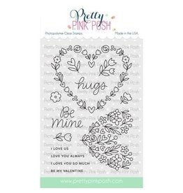Pretty Pink Posh Large Floral Hearts - Clear Stamp Set