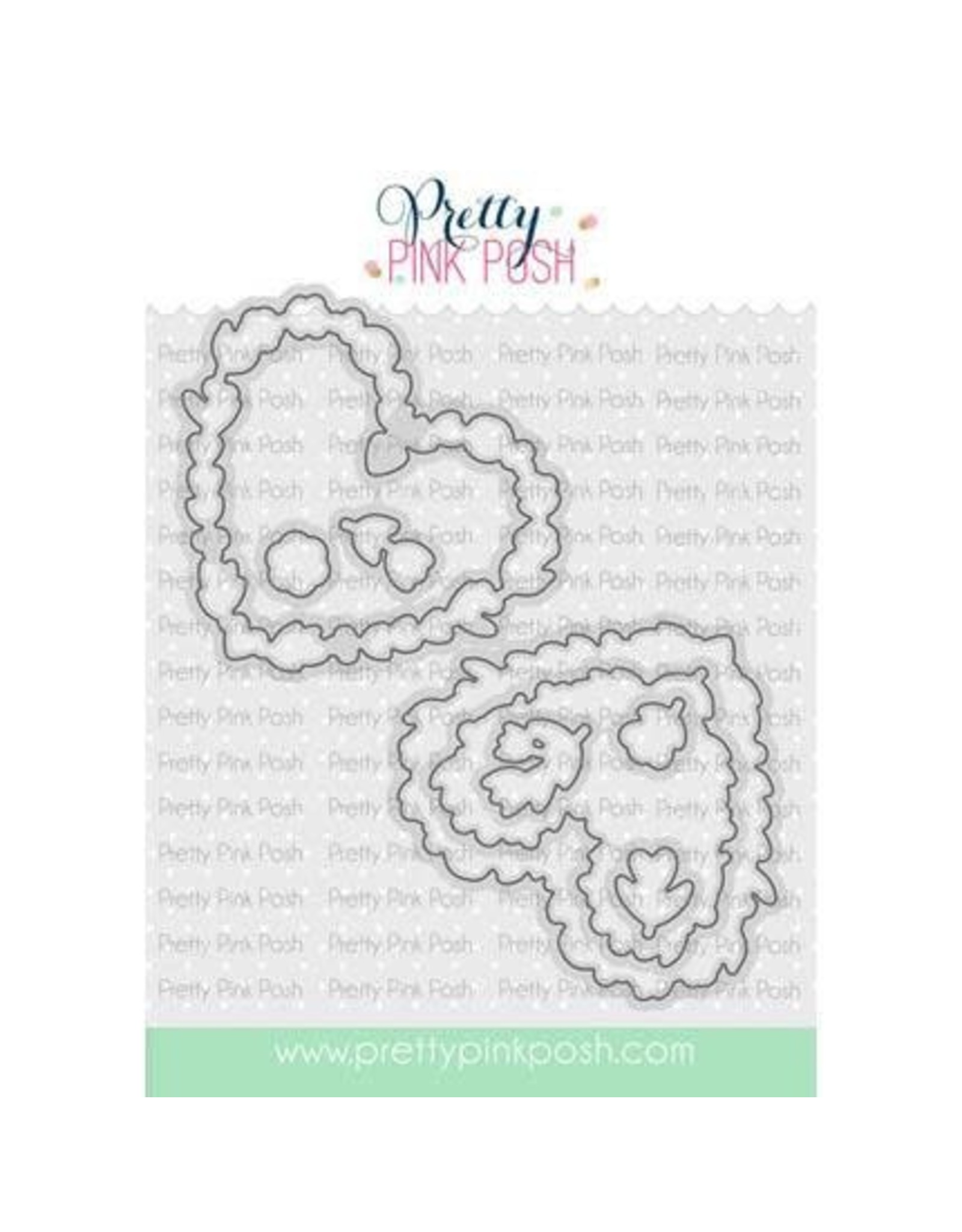 Pretty Pink Posh Large Floral Hearts - Die Set